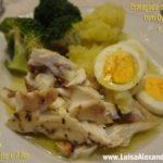Esmagada de Batata com Ovo Cozido e Bróculos Acompanhado com Dourada Escalada no Forno com Azeite e Alho